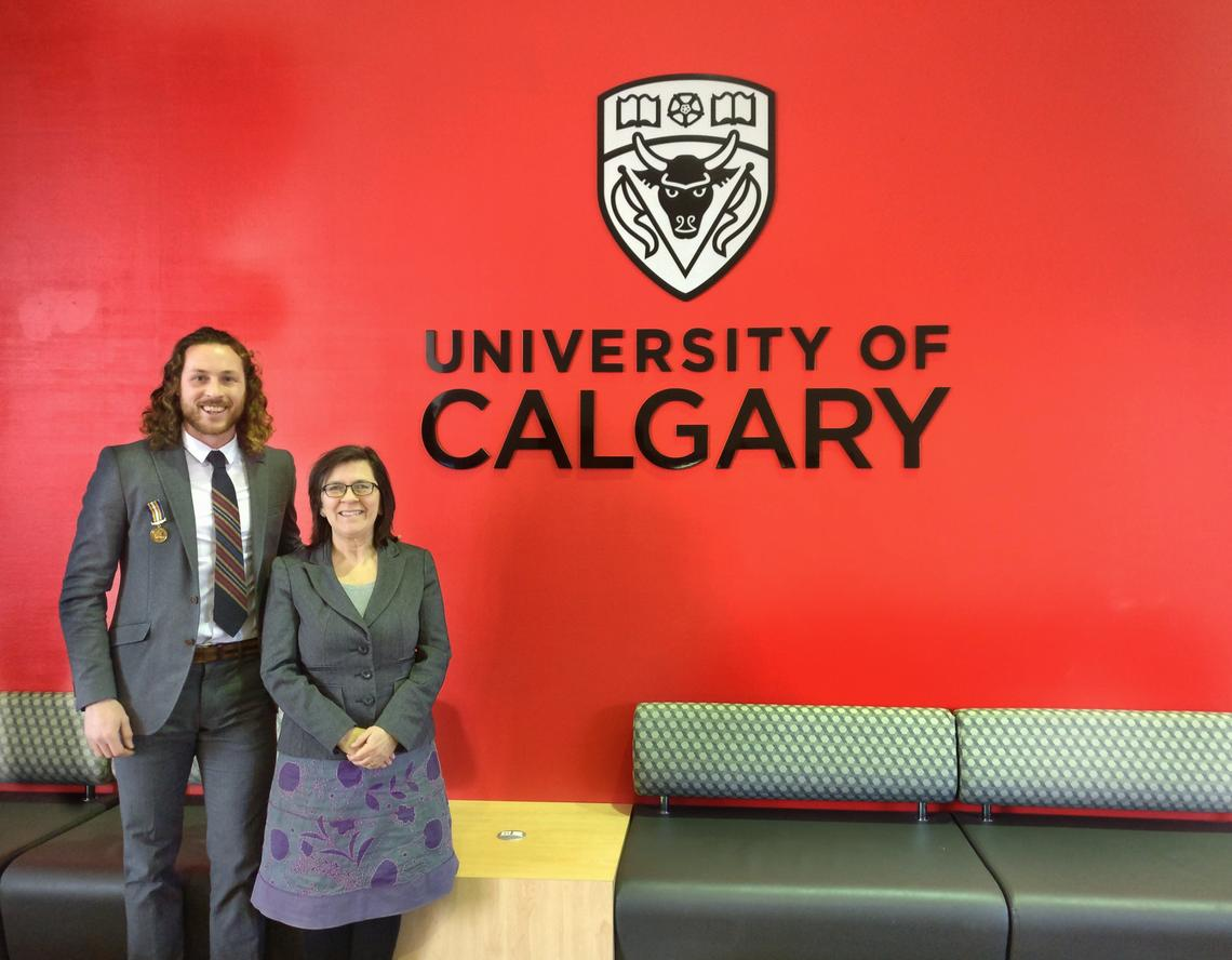 Ian MacNairn with Susan Barker, UCalgary's vice-provost (student experience). Barker supported MacNairn's application to attend the Association of Commonwealth Universities' international conference on promoting respect and understanding. University of Calgary photo