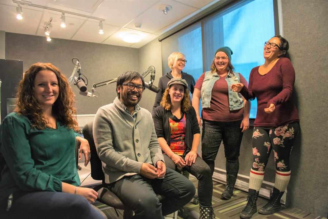 Recipients of a 2017-2018 University of Calgary Teaching and Learning Grant, front from left, Jessica Shaw, Ilyan Ferrer and Liza Lorenzetti, and back from left, Karyn Jackson, Taylor Johnson and Emy Ulloa from the Faculty of Social Work are developing a project introducing podcasting as a teaching and learning tool. Photos by Michael Do, Taylor Institute for Teaching and Learning
