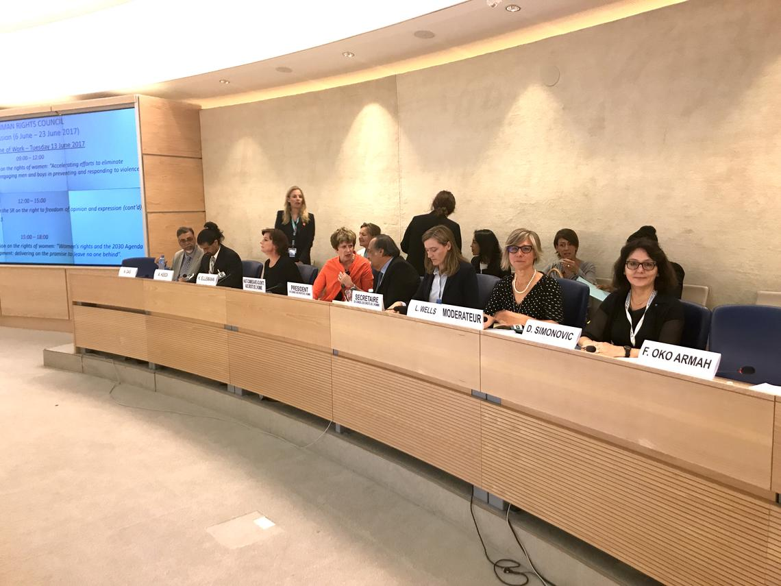 Lana Wells moderates a full-day panel discussion during the 16th meeting of the 35th Regular Session of the United Nations Human Rights Council June 13, 2017. Photos courtesy Lana Wells