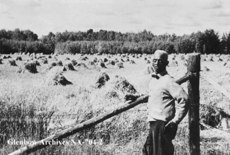 J. D. Edwards stands beside a grain field in Amber Valley.