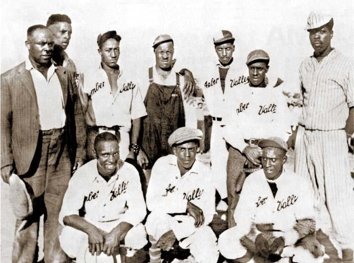 The Amber Valley baseball team. Black settlers came to escape racism with the promise of nearly free land after Oklahoma became a state and introduced segregation and Jim Crow laws at the turn of the last century.