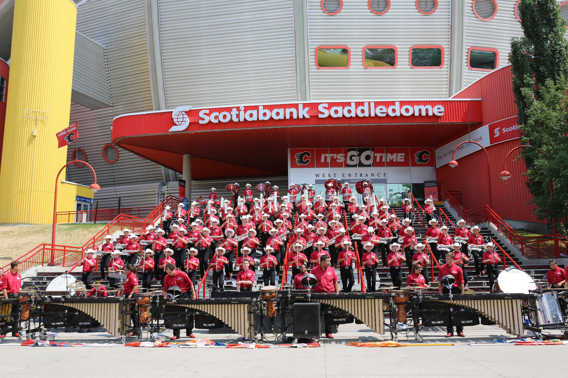 The 2017 Stampede Showband plays in front of the  Scotiabank Saddledome — just one of approximately 200 shows they play during the regular season.