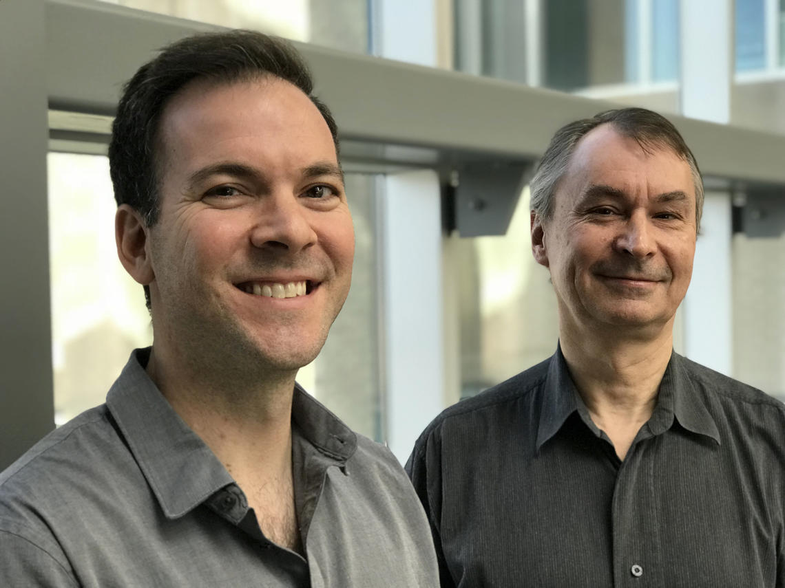 University of Calgary scientists Andrew Caprariello, PhD, left, and Dr. Peter Stys, professor at the Cumming School of Medicine, are challenging conventional thinking about the root cause of multiple sclerosis.