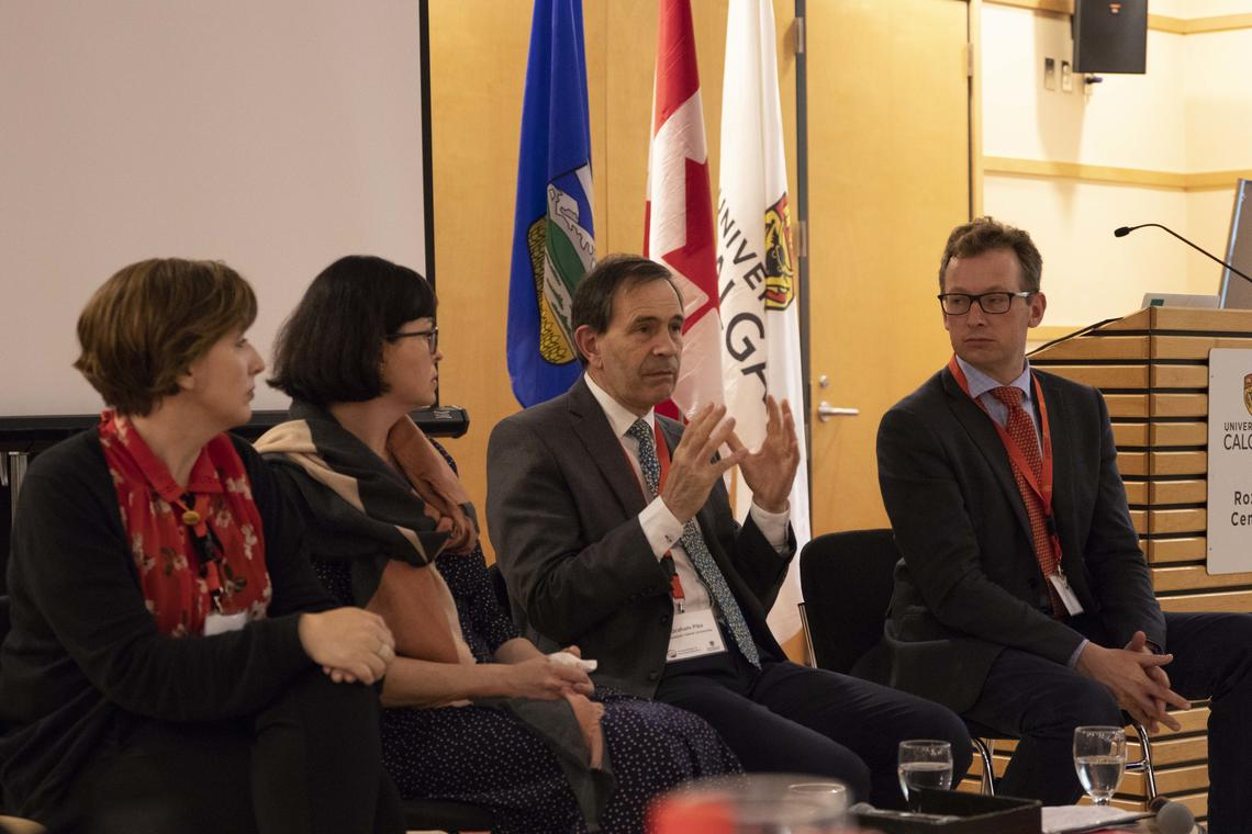 From left: Leah Nord, director of board, member and stakeholder relations, CBIE; Natasha Nobell, international relations officer, UBC; Graham Pike, dean of international education, Vancouver Island University; Gavin Cameron, associate dean of internationalization and global initiatives, during a panel discussion at the CBIE regional meeting.