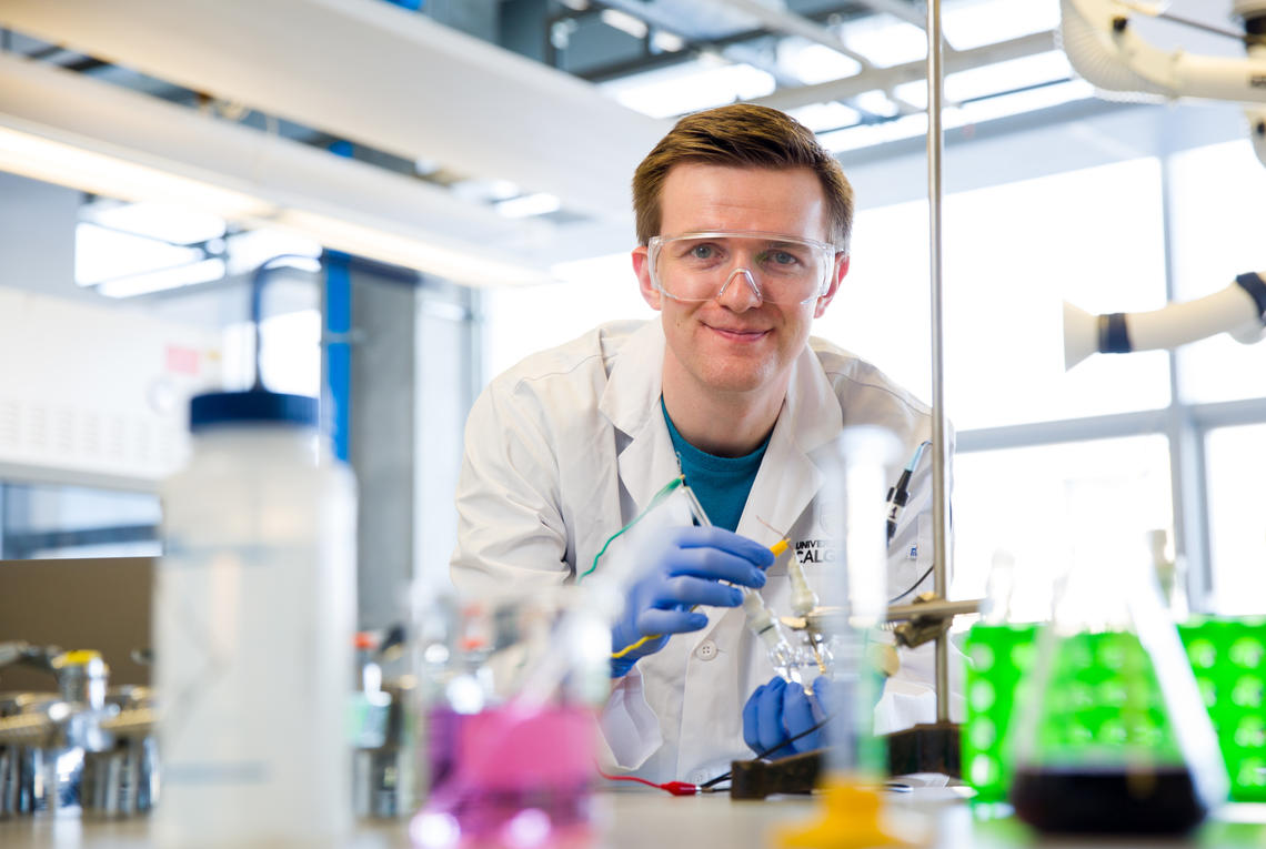 University of Calgary graduate student Robert Mayall began working as an undergraduate in 2013 on a thesis aimed at creating a sensor that could detect the presence of bacteria. Photos by Riley Brandt, University of Calgary