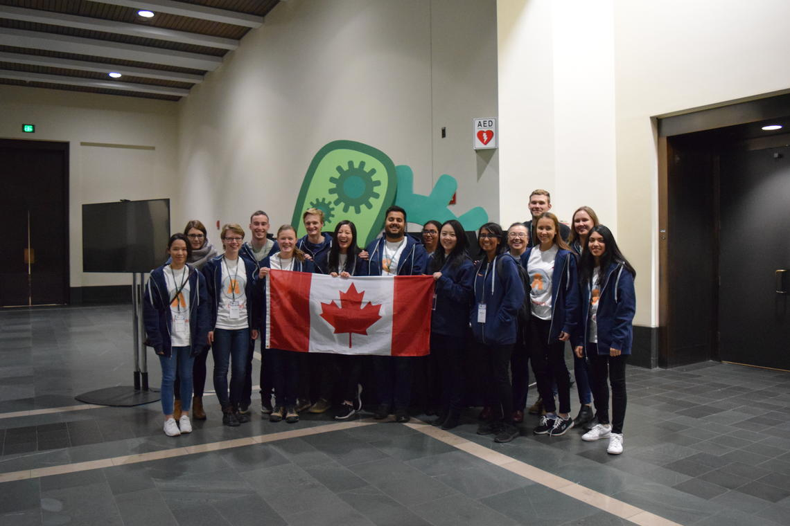 The multi-faculty team from the University of Calgary competed in the International Genetically Engineered Machine (iGEM) Foundation's Giant Jamboree in Boston. Photo courtesy iGEM 2017 team