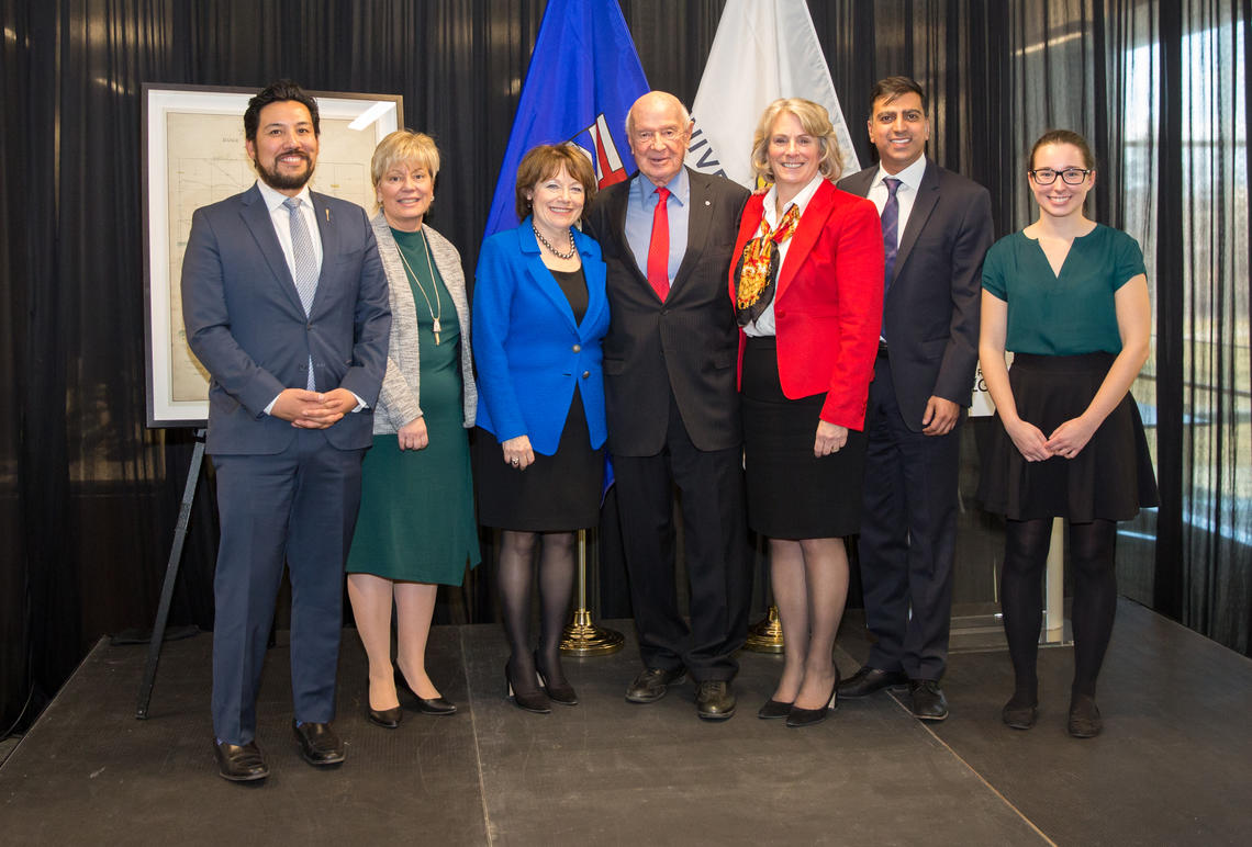 Taking part in the announcement at the University of Calgary were, from left: the Honourable Ricardo Miranda, Minister of Culture and Tourism; Dr. Mary-Jo Romaniuk, vice-provost, libraries and cultural resources; donors Sharon and Bill Siebens; President Elizabeth Cannon; Glenbow Board Chair Irfhan Rawji; and student Sonia Jarmula. Photos by Riley Brandt, University of Calgary