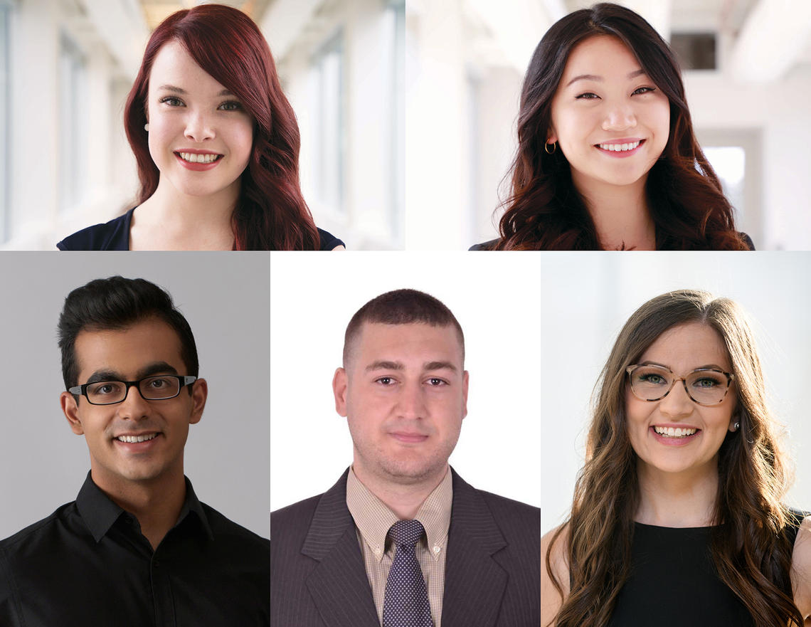 The recipients of the 2019 President's Award for Excellence in Student Leadership, clockwise from top left: Laura Fader, Tingting Yan, Kristen Barton, Anis Ben Arfi, and Rahul Arora.