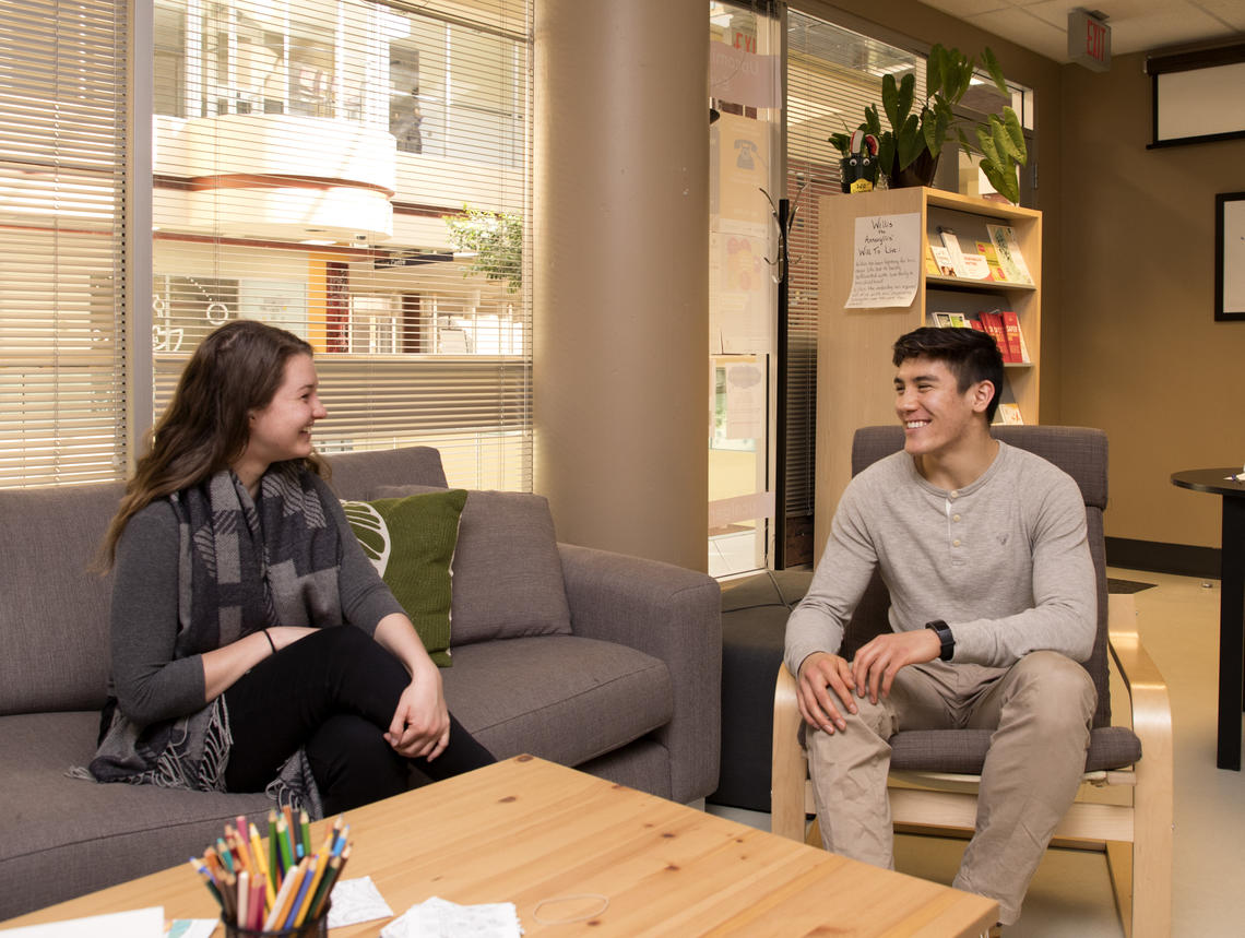 Peer Listeners Brandon Huynh and Meghan Muller volunteer together at the Well, a space dedicated to promoting student health and well-being on campus.