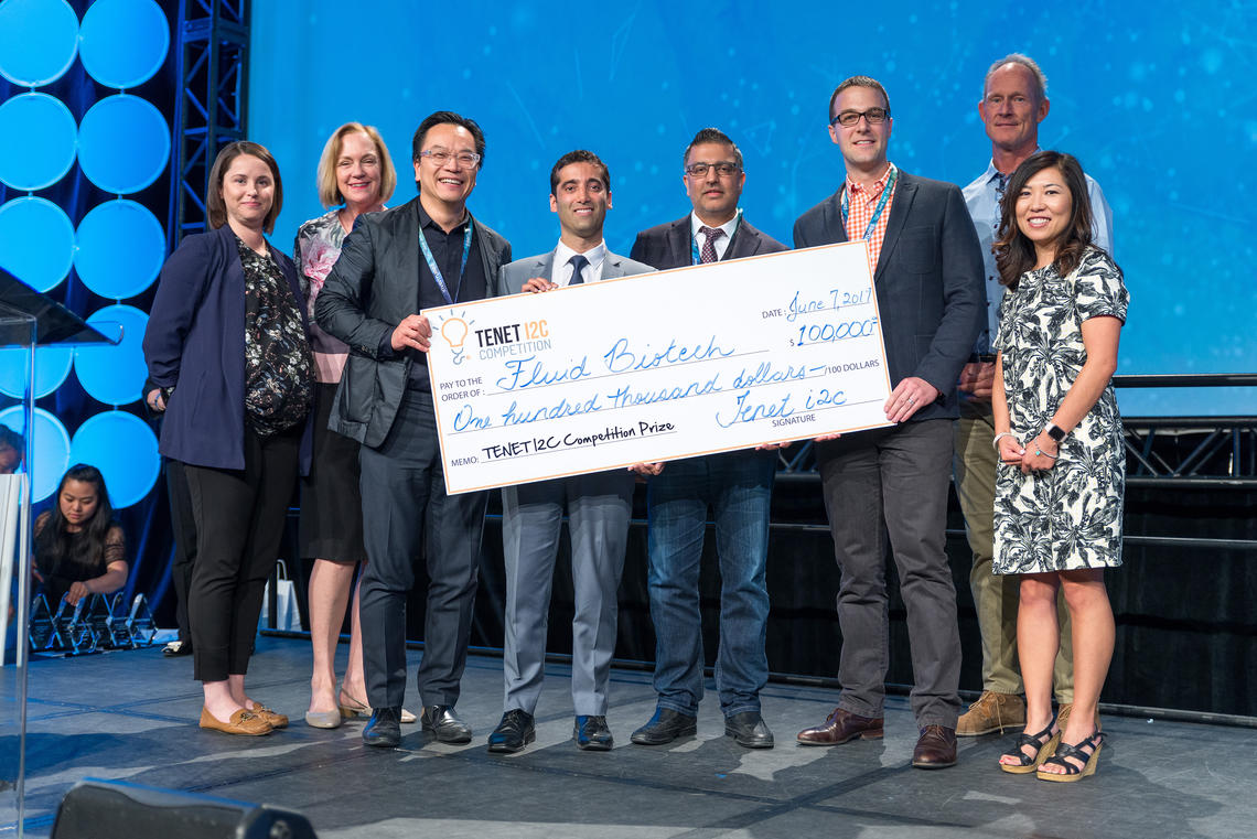 The Fluid Biotech Inc. team receives first place and a big cheque at the 2019 TENET i2c competition finals at INVENTURE$ 2019 on June 7, 2019. Hunter Hub for Entrepreneurial Thinking photo