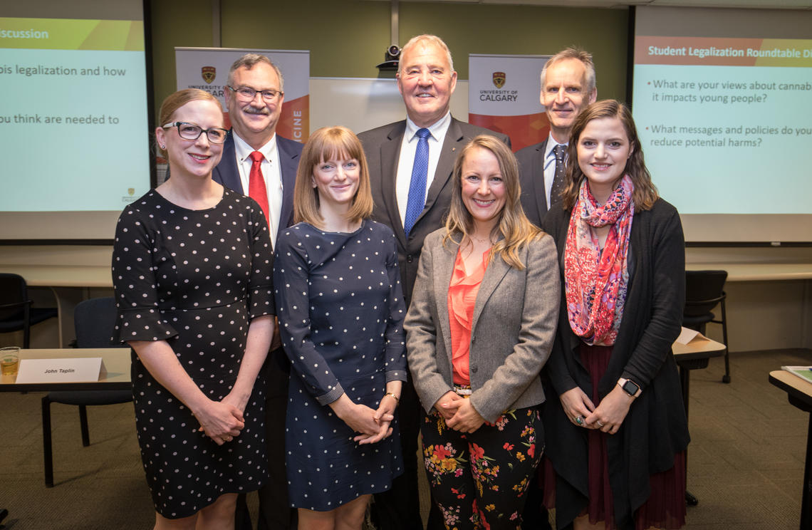 Taking part in the announcement were, back row from left: Jon Meddings, Bill Blair, Karim Khan. Front row, from left: Rebecca Haines-Saah, Emily Jenkins, Tanya Mudry, and Samantha Baglot.