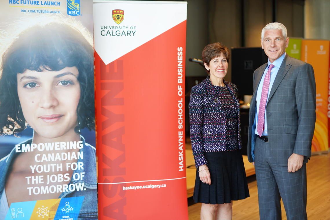 University of Calgary Chancellor Debra Yedlin and Jeff Boyd, regional president, Alberta and the Territories, RBC Royal Bank announce an additional $1 million gift to entrepreneurial thinking at yesterday's fifth annual RBC Fast Pitch Competition.