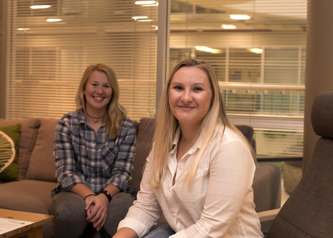 Peer Listeners Mikayla Gray and Laura Crack in the Well (MSC 373), a drop-in space for student wellness on campus. Photos by Kailey Lewis, Student and Enrolment Services