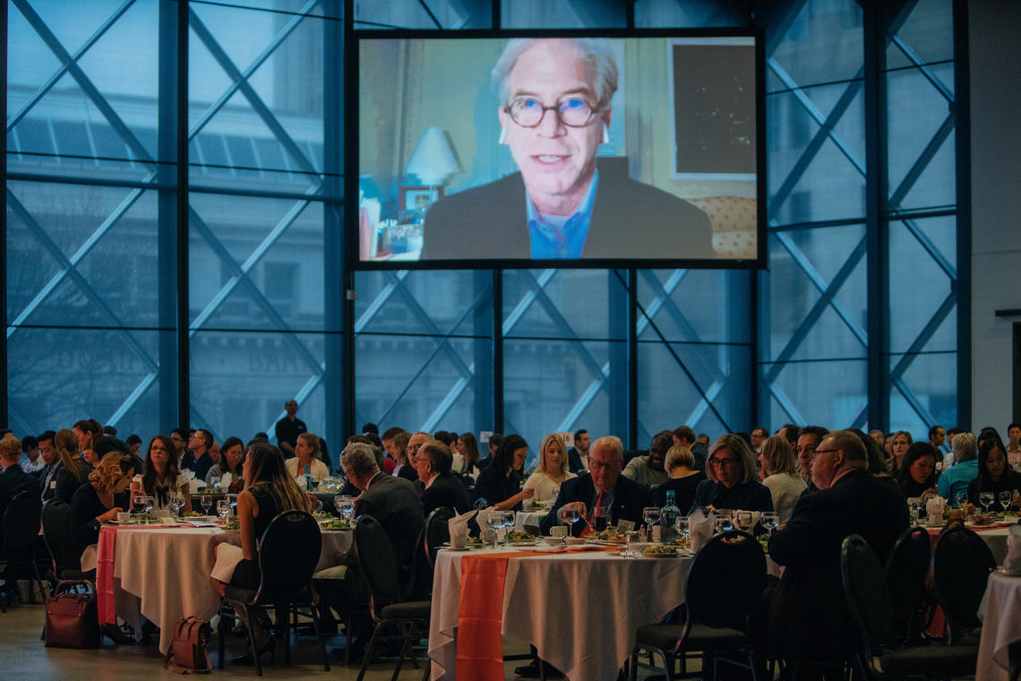 Former Enron CFO Andrew Fastow speaks via webcast to the Canadian Centre for Advanced Leadership in Business at the Telus Convention Centre on April 11.