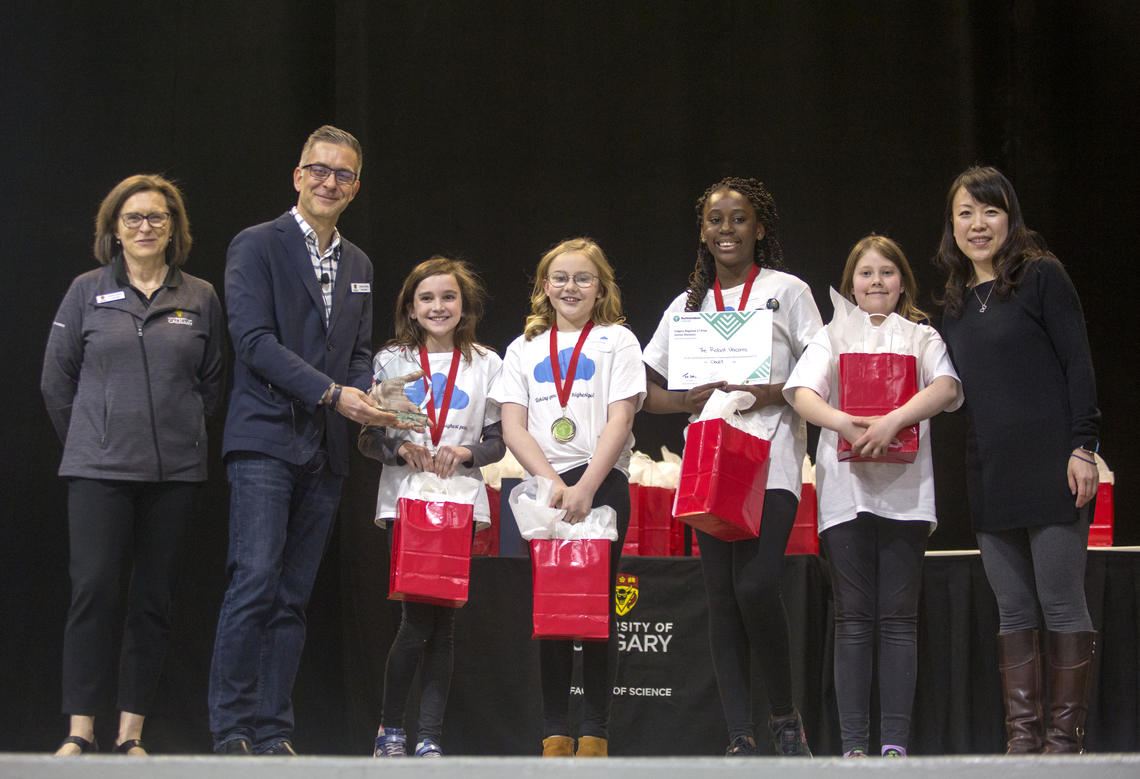 Faculty of Science leadership award team Robot Unicorns first prize at the Technovation regional pitch competition at the University of Calgary