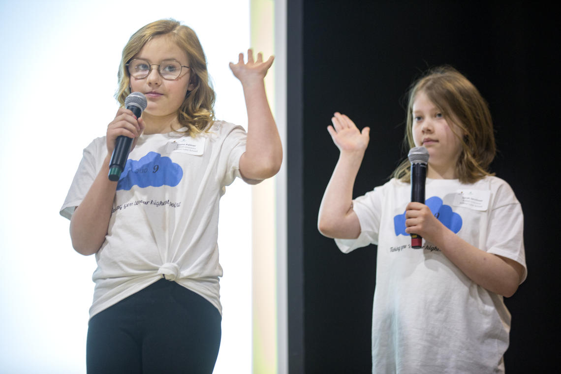 Claire Palmer and Sarah Jacobson of Robot Unicorns pitch their app, Cloud9, at the Technovation regional pitch competition hosted by the University of Calgary's Faculty of Science.
