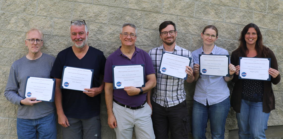 Seven members of the Space Physics Group shared a NASA Robert H Goddard Award for excellent Achievement in Science with the Alberta Aurora Chasers and researchers from Athabasca University and NASA.