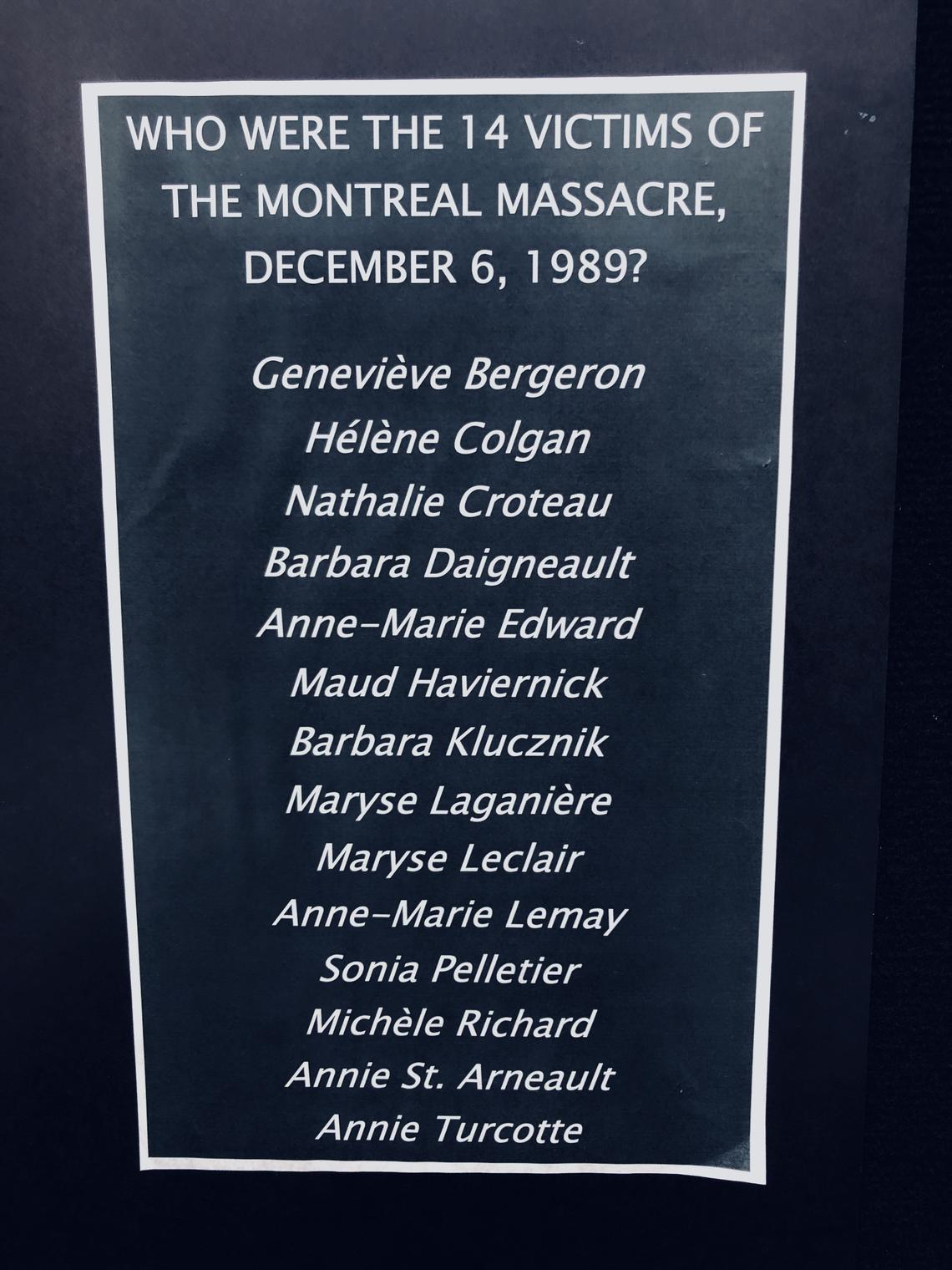 The names of those who died at Montreal's École Polytechnique.