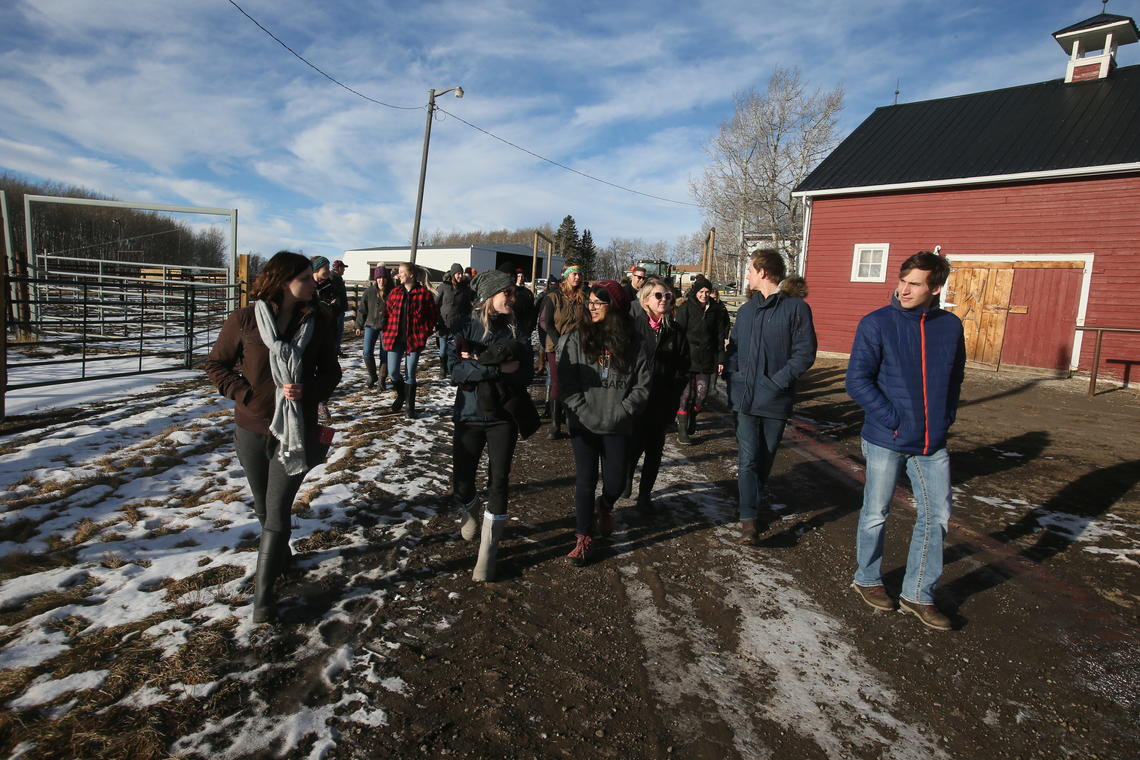 Students tour the W.A. Ranches property.