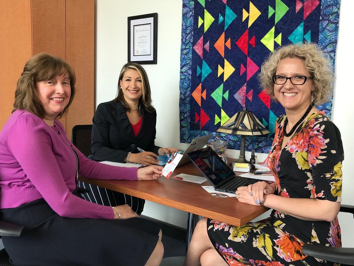 Former associate dean Raffin Bouchal with the Faculty of Nursing's Leda Stawnychko and Sandra Davidson.