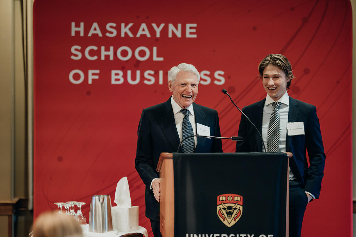 University of Calgary alumnus Rob Peters, co-founder of Peters & Co. Limited, and his son Brennan Peters, a student in the dual degree program between the Haskayne School of Business and Schulich School of Engineering.