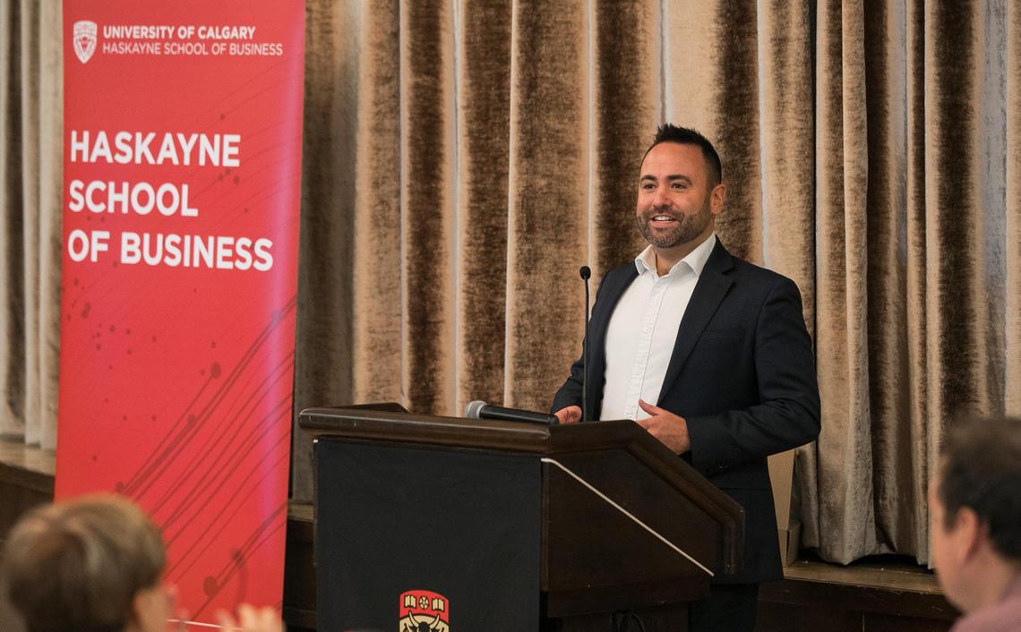 Erik Johnson speaks at award ceremony