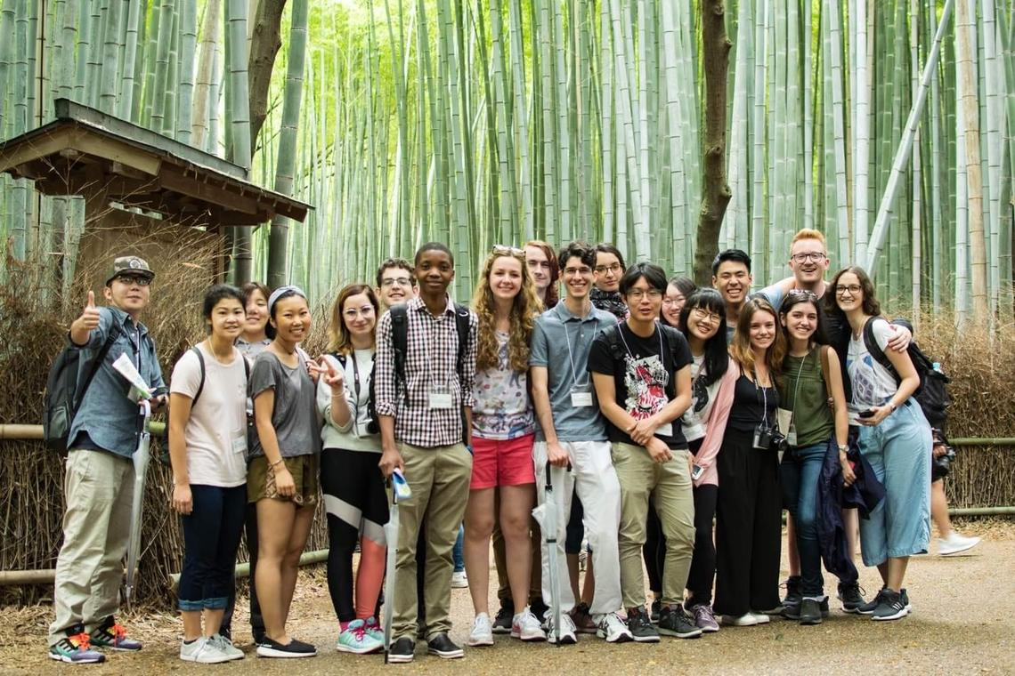 Angie and fellow international students in Japan