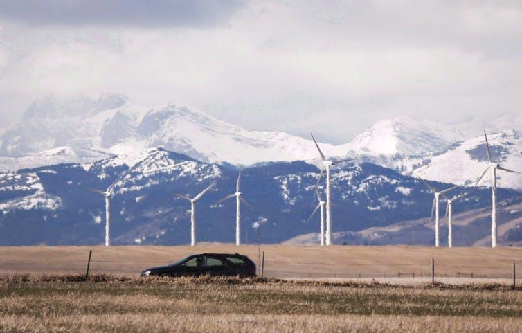A wind farm is shown near Pincher Creek, Alta., in March 2016
