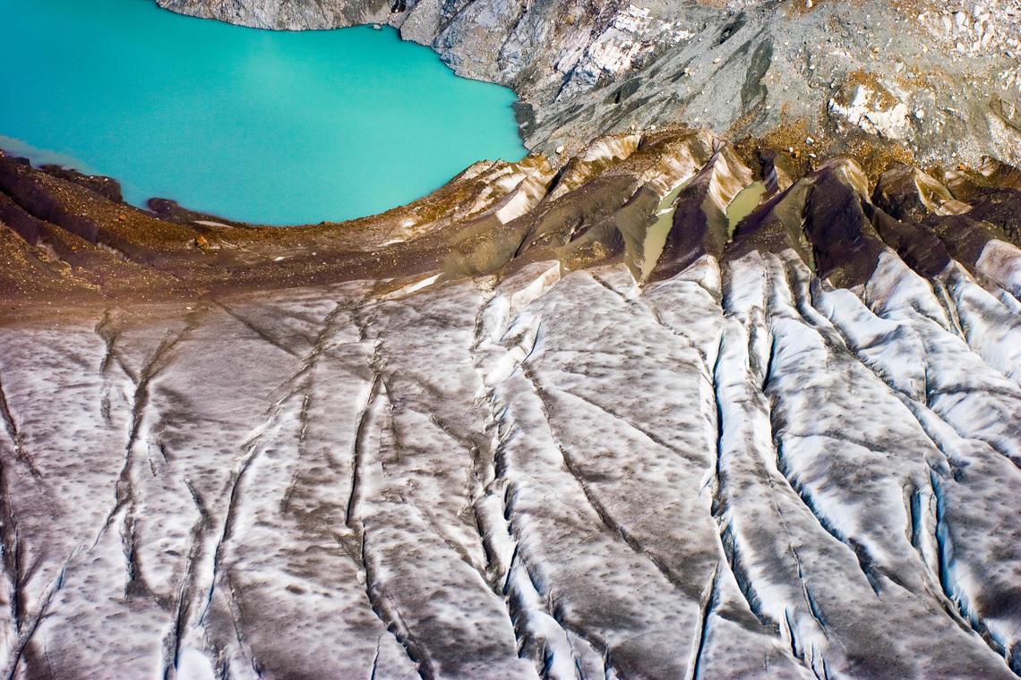 A supraglacial (on top of the glacier) lake on Brady Glacier, Glacier Bay National Park, Alaska.