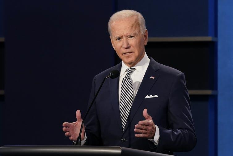 While Trump adopted a combative tone, Biden appeared less confrontational.