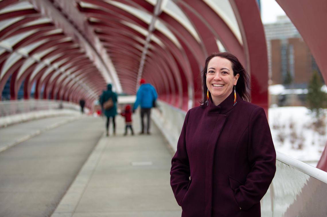 Jennifer Markides standing on the Peace Bridge