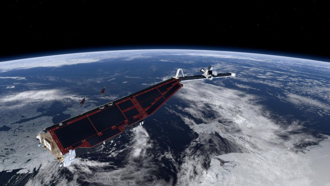 Swarm satellite pictured above Earth