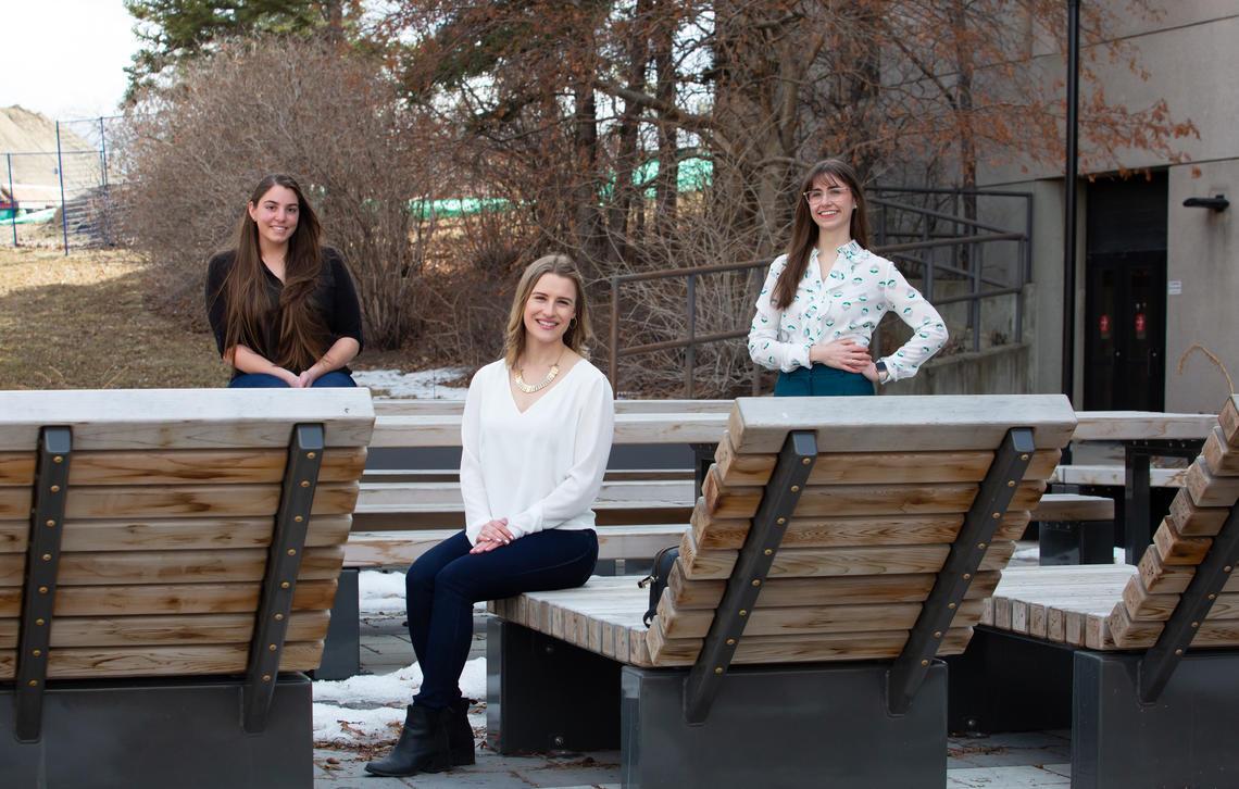 Left to right: Ryynn Rathwell, Natasha Werbicki and Colleen Jackson, Mmgmt students and finalists