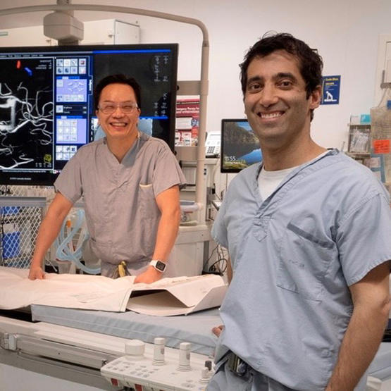 John Wong, left, and Alim Mitha co-founded Fluid Biotech with the goal of improving the lives of patients who have brain aneurysms.