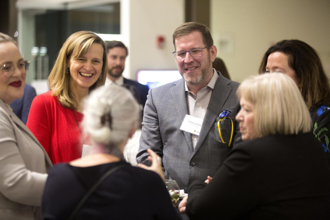 Dr. Mathew Johnson (left) with Dr. Penny Pexman (right) at the January 2020 national gathering for the Carnegie Pilot