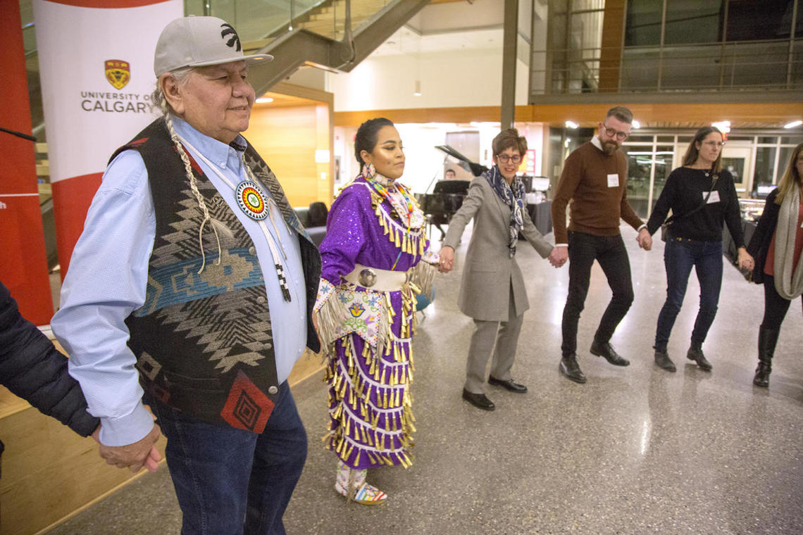 The round dance with Elder Reg, Indigenous dancer, Chancellor Yedlin and a few members of the CPC at the mid-cycle convening in January 2020 at the Taylor Institute