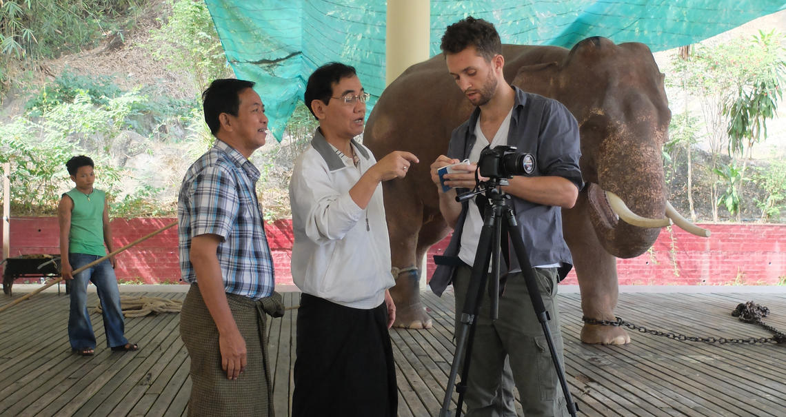 Dr. Zaari volunteering at the Royal White Elephant Gardens in Yangon, Myanmar.