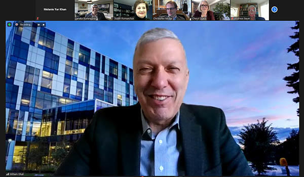 William Ghali speaks to the Calgary Consular Corp at the Research Changing the World virtual meeting.