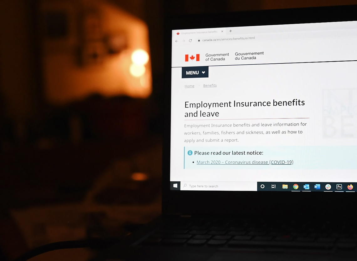 The employment insurance section of the Government of Canada website highlighting the CERB is shown on a laptop in Toronto in April 2020.