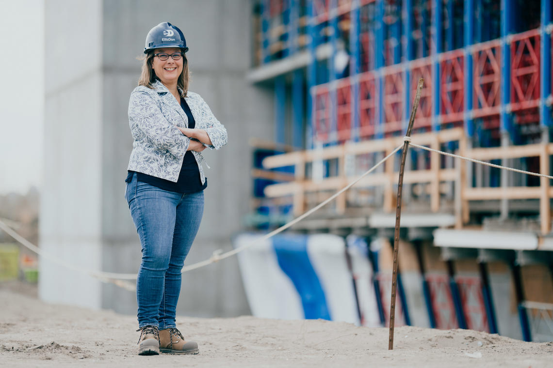CPA Alberta CEO Rachel Miller on site of the construction of Mathison Hall.