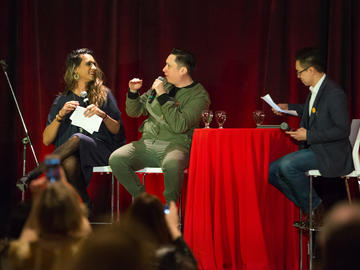 Andrew Szeto, director of the Campus Mental Health Strategy moderates an audience Q & A with Vivek Shraya and Ian Campeau