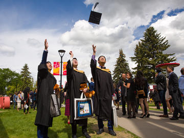 Students from the Faculties of Science and Graduate Studies celebrate graduation at the University of Calgary convocation ceremony on Thursday, June 6, 2019.
