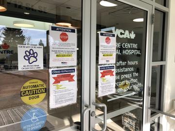 COVID-19 notices on the door to the Calgary Animal Referral & Emergency Centre.