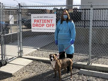 Alesha Dupont, an animal health technician at Western Veterinary Specialist & Emergency Centre, with Reese.
