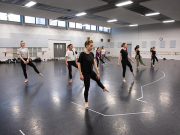 Students in the UCalgary dance program participating in both the body conditioning class, as well as a contemporary dance class.