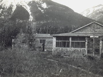 General view of summer residences at Waterton Park, where Blood School summers. The General Synod Archives, Anglican Church of Canada.  P75-103-S7-48