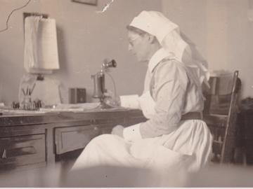 Marion Moodie, 1919, in her office at the military convalescent hospital in Ogden