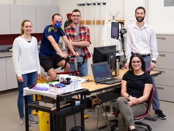 Juan Murias, PhD, and his team in the lab conducting exercise physiology research