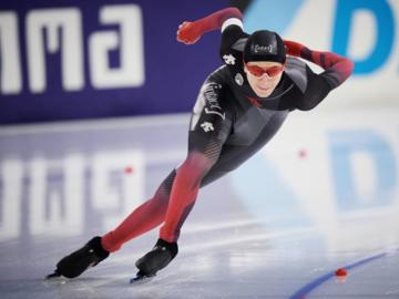 Connor Howe competes in the 1,500 metre at the ISU Speed Skating World Championships in Heerenveen, the Netherlands, Sunday, Feb. 14.