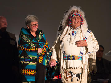 Dr. Dru Marshall and Hal Eagletail at the two-year anniversaryofii' taa'poh'to'p, UCalgary's Indigenous Strategy.